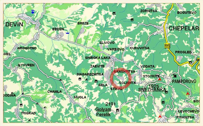 LOCATION OF SOLISHTA VILLAGE AND THE RED DOORS HOUSE
